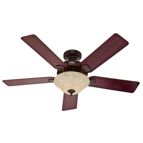 "52 Onyx Bengal 4 Light Ceiling Fan With Light Kit: Hunter Refurbished 52"" 5-Minute Waldon Onyx Bengal Bronze"